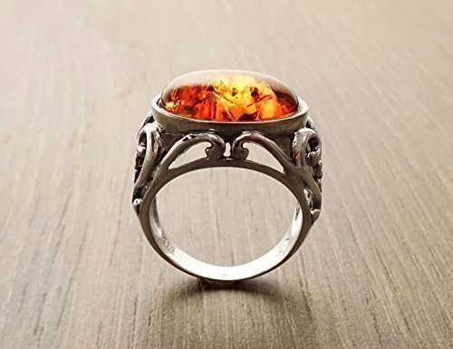 Silver Jewelry Amber Ring Manufacturers