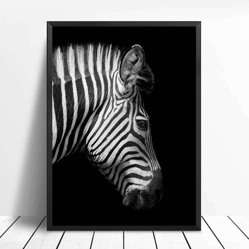 Zebra Painting On Black Canvas Manufacturers