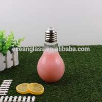 Glass Set Light Bulb Salt & Pepper Shaker S&P Bottles Vintage Glass Jar Brass Screw Lids