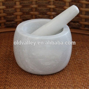 Exquiste white stone mortar and Pestle cooking bowlherb and spice tools
