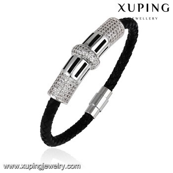 bangle86 Xuping jewelry handmade leather bracelet alloy bracelets black women bangle