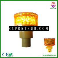 mini 12pcs led signal yellow revolving solar traffic light warning