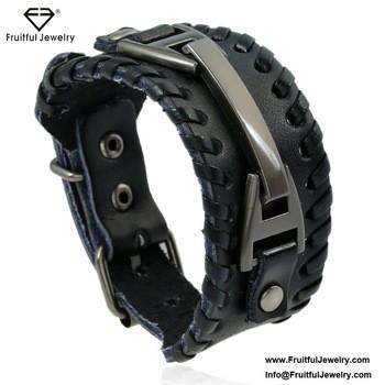 leather accessories vintage alloy woven mens bracelet