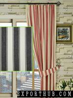 Black Narrowstripe Versatile Pleat Cotton Curtains