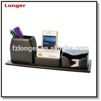 Office Table Clock PU leather pen stand