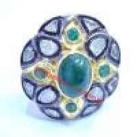 080ct Victorian Rose Cut Diamond Ring Emerald 925 Silver Vintage Polki Mughal Anniversary Wedding Party Wear RB_002