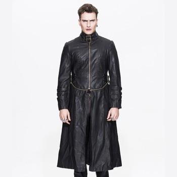 handsome men western gothic leather long coat
