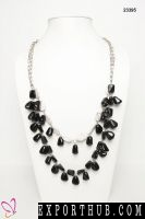 ChicKraft Black And White MudBead Metal MultiStrand Necklace