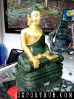 Shakyamuni Buddha Statue Golden Plated Nephrite Jade