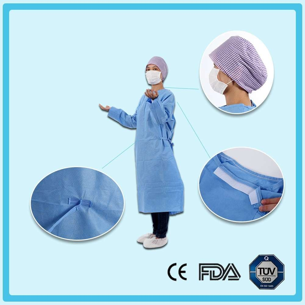 Disposable nonwoven standard surgical gown