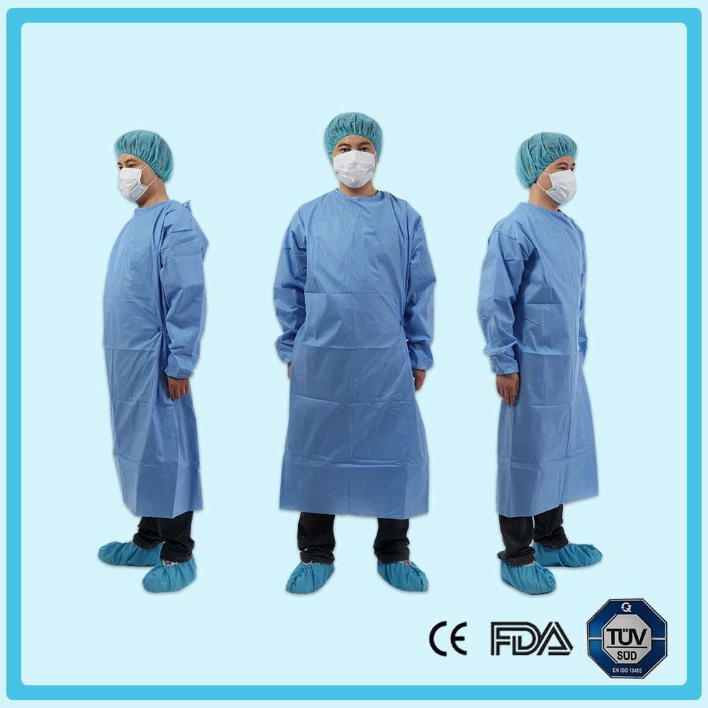 Disposable nonwoven reinforced surgical gown