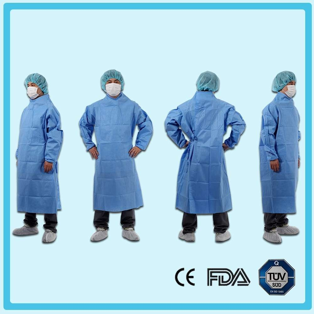 Disposable nonwoven reinforced surgical gown with raglan sleeves