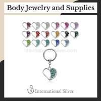 Wholesale Hoops/Captive Rings With Gemmed Heart Danglings