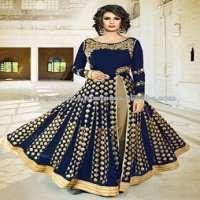 Blue Georgette Wedding Wear Sequins Work Anarkali Suit